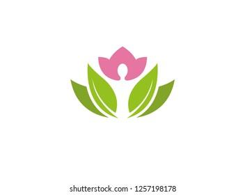 Wellness yoga body care logo design illustration on white background
