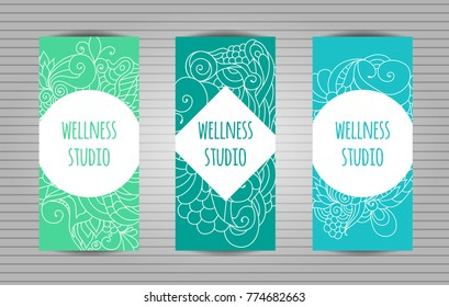 Wellness, yoga and meditation studio long flyer or trifold templates set with zentangle pattern .