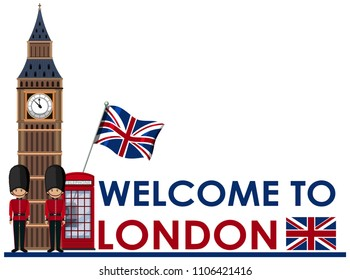 Welome to London landmarks illustration