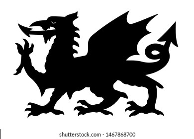 Welsh Black Dragon Vector illustration