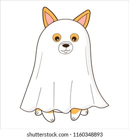 Welsh Corgi dog dressed up as a ghost. Halloween cartoon vector illustration.