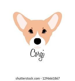 Welsh Corgi dog head vector illustration