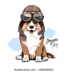 Welsh Corgi dog in a retro leather aviator helmet. Dream of sky - lettering quote. Humor card, t-shirt composition, hand drawn style print. Vector illustration.