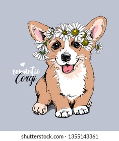 Welsh Corgi puppy with a chamomile flowers. Romantic Corgi - lettering quote. Humor card, t-shirt composition, hand drawn style print. Vector illustration.