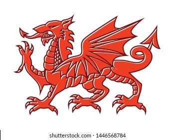 Welsh red Dragon on white background - Vector illustration of Fantasy Monster illustrated on national flag on Wales.