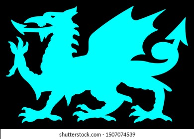 Welsh Silhouette Dragon Vector illustration