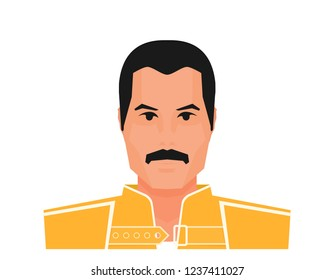 Wembley Stadium, July 12 1986 Flat vector famous rock musician Freddie Mercury in yellow jacket.
