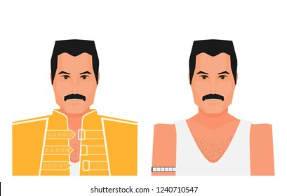 Wembley Stadium, July 12 1986 Flat vector famous rock musician Freddie Mercury