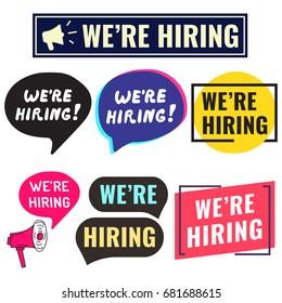 We're hiring. Badge, icon, logo set. Flat vector illustrations on white background.