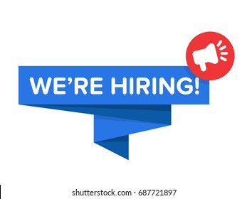 """We're hiring badge vector isolated on white. Origami speech bubble with text """" We're hiring!"""" and megaphone icon."""