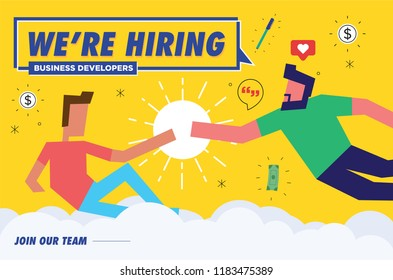 We're Hiring business developer. Job Recruiting Concept. Vector illustration of God Creating Adam.