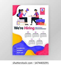 We're hiring employees business poster with flat cartoon illustration. Job interview flyer pamphlet brochure magazine cover design layout space for promotion marketing, vector print template A4 size