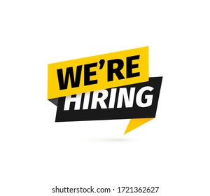 We're hiring isolated vector icon. Paper sticker for recruitment services on white background