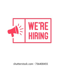 We're Hiring Megaphone Label