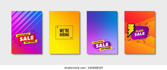 We're hiring symbol. Cover design, banner badge. Recruitment agency sign. Hire employees symbol. Poster template. Sale, hot offer discount. Flyer or cover background. Coupon, banner design. Vector