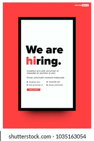 We're Hiring Typography with Hi Standing Out Poster Concept Template Text Box Design and Apply Button