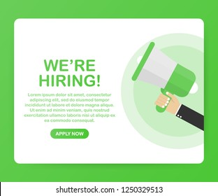 We're Hiring web banner. Megaphone With We are Hiring Speech on green background. Vector stock illustration.