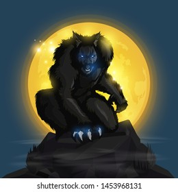 werewolf and fullmoon design on blue background