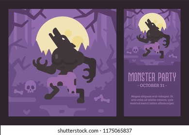 Werewolf howling at the full moon in a dark forest. Halloween flat illustration and flyer