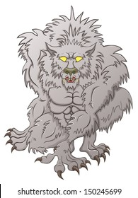 Werewolf hunting, baring his teeth on the white background