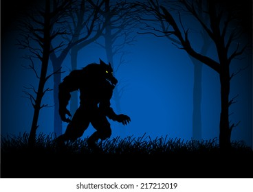 A Werewolf lurking in the woods, suitable for Halloween spooky background