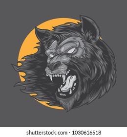 Werewolf monster vector illustration.