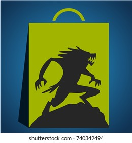 Werewolf on halloween with style flat design the full moon background, horror wolf at night vector invintation