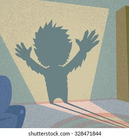 Werewolf Shadow Silhouette Retro Shape Halloween Monster Wild Animal Wolf Flat Vector Illustration