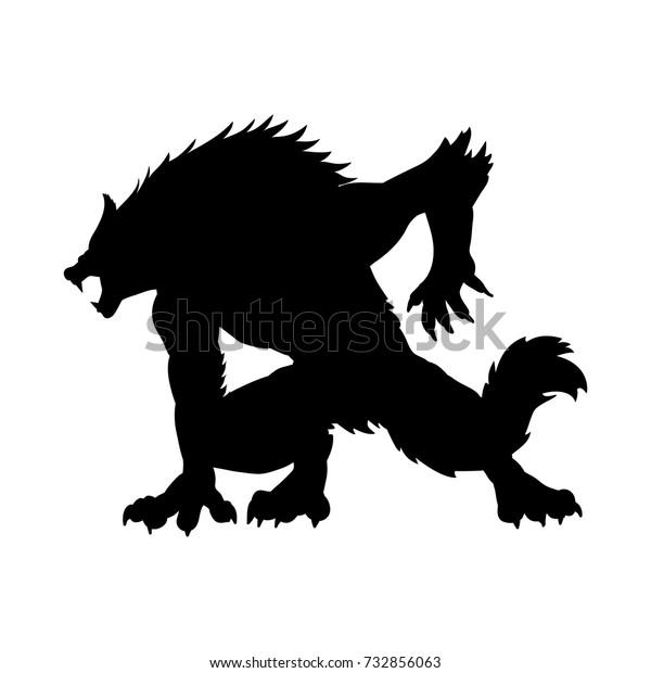 人狼シルエット古代神話のファンタジー ベクターイラスト のベクター画像素材 ロイヤリティフリー