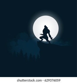 Werewolf silhouette halloween night background moonlight vector illustration.