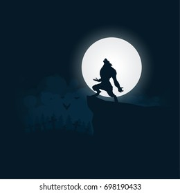 Werewolf silhouette, halloween night background moonlight vector illustration.