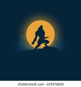 Werewolf silhouette,halloween night background moonlight vector illustration.