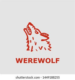 Werewolf symbol. Outline werewolf icon. Werewolf vector illustration for graphic art.