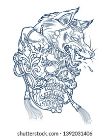 werewolf wolf tattoo with human skull in its paws