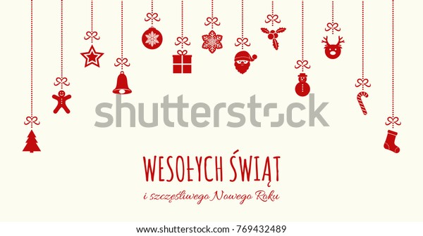 Merry Christmas In Polish.Wesolych Swiat Merry Christmas Polish Concept Stock Vector
