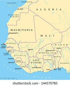 West Africa Map. Hand drawn map with capitals, national borders, rivers and lakes. With english labeling and scale.