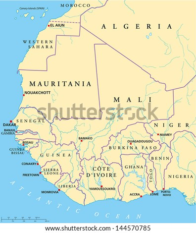 West Africa Map Hand Drawn Map Stock Vector Royalty Free 144570785