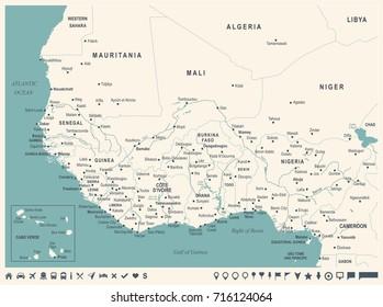 West Africa Map - Vintage Detailed Vector Illustration