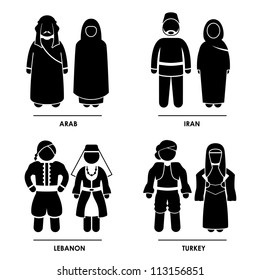 West Asia - Arab Iran Lebanon Turkey Man Woman People National Traditional Costume Dress Clothing Icon Symbol Sign Pictogram