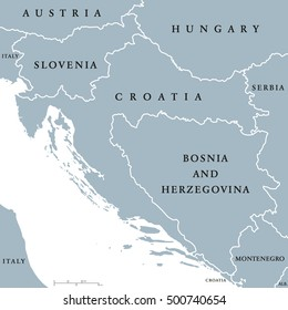 West Balkan countries political map with national borders. Western Balkans, formed by Slovenia, Croatia and Bosnia And Herzegovina. English labeling and scaling. Gray illustration on white background.