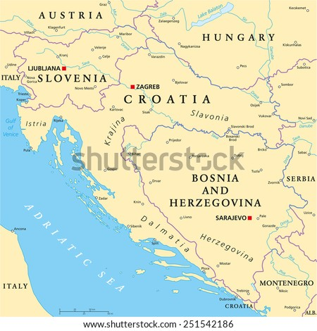 West Balkan Political Map Formed By Stock Vector (Royalty Free ...