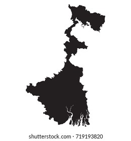 West Bengal black map on white background vector