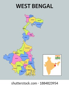 West Bengal map. Showing district boundary of Punjab. Vector illustration of districts map of West Bengal. Colorful map.