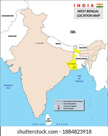 West Bengal map. West Bengal state location in India map. Location map of West Bengal.