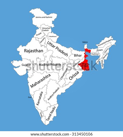 West Bengal State India Vector Map Stock Vector (Royalty Free