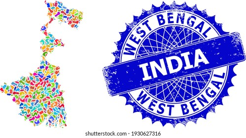 West Bengal State map template. Spot mosaic and unclean mark for West Bengal State map. Sharp rosette blue stamp with tag for West Bengal State map.