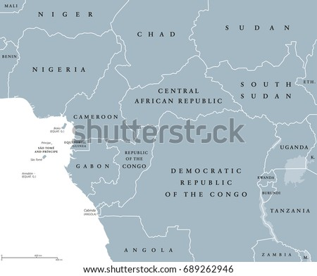 West Central Africa Countries Political Map Stock Vector Royalty