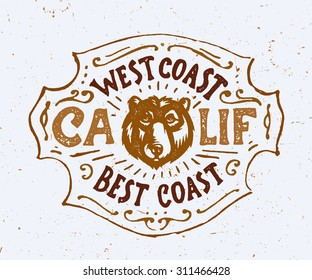 West Coast Best Coast CALIF. Vintage t shirt apparel fashion print graphics. Retro hand lettered poster. typographic wall art ornate badge design, California inspired ink drawing vector illustration.