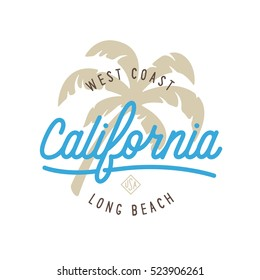 West coast california long beach t-shirt vector graphics. California related apparel design. California word lettering poster. Cali. Vintage style illustration.
