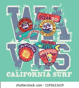 West Coast California surf riders company - vector artwork for children wear with patches applique